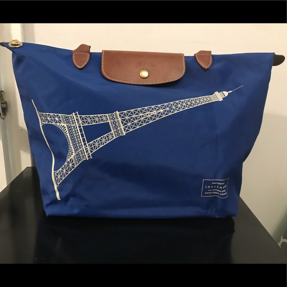 95704fdd87 Longchamp Handbags - 💯Longchamp Blue Effiel Tower Tote. EUC