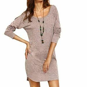 Mauve marl knit v back sweater dress