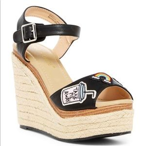 Chase & Chloe Lacy Patch Applique Espadrille Wedge