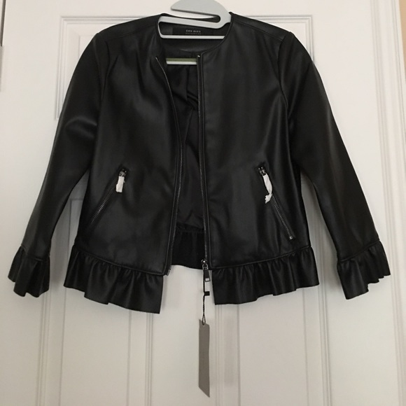 35725cbe Zara Jackets & Coats | Faux Leather Ruffle Hem Jacket | Poshmark
