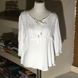 White 3/4 sleeve shirt with Tassels