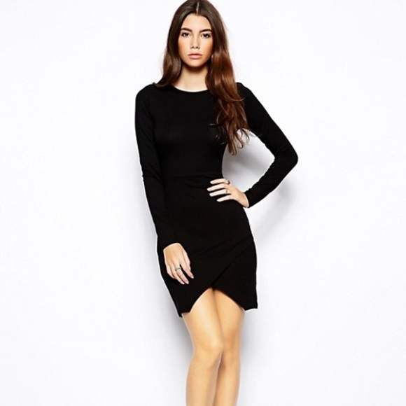 b3e94201492 ASOS Dresses   Skirts - ASOS Black Long Sleeve Body-con Asymmetrical Dress
