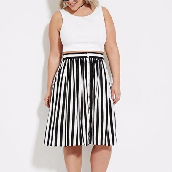bc7e18f00 Forever 21 Dresses & Skirts - Forever 21+ Button Down Striped Midi Skirt