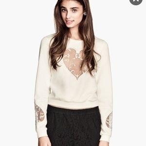 NWT! H&M white embroidered heart sweatshirt size M
