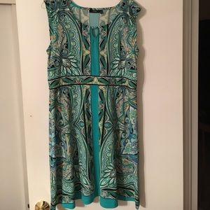 Dress in beautiful large scale green paisley print