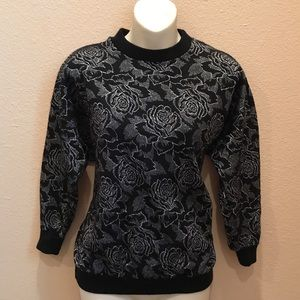 80s Rose Print Pullover Sweater
