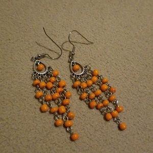 Orange chandelier earrings
