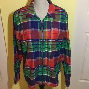 Chaps Denim plaid flannel zip up SZ XL