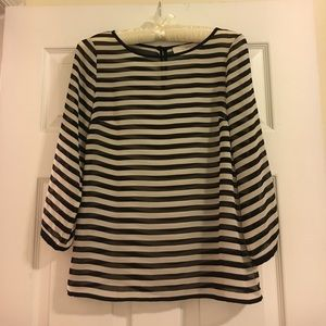 LOFT Tops - Loft ⚫️⚪️ Striped Sheer Long Sleeved Blouse