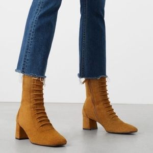 MNG tan suede brown lace up boots mid calf ankle