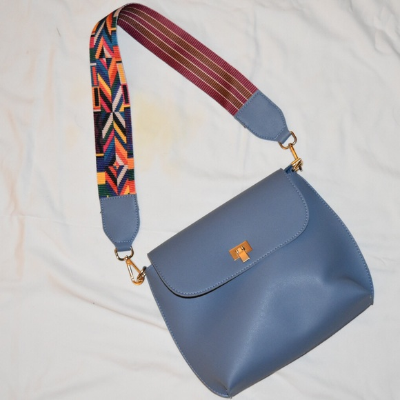Blue Leather Purse With Interchangeable Strap
