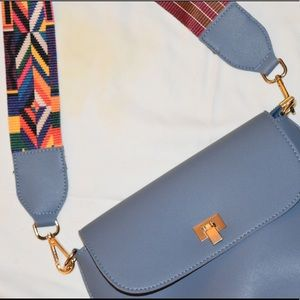 Bags - Blue Leather Purse With Interchangeable Strap