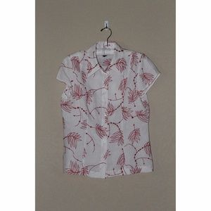 W by Worth White & Red Embroidered Blouse