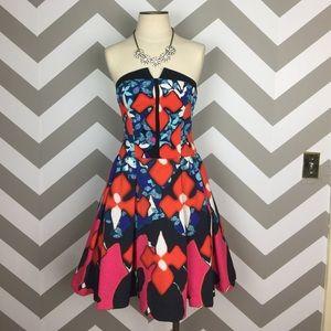 Peter Pilotto Target Red Strapless Print Dress 4