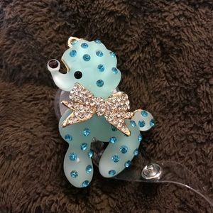 🐩 Blue rhinestone poodle 🐩 badge reel