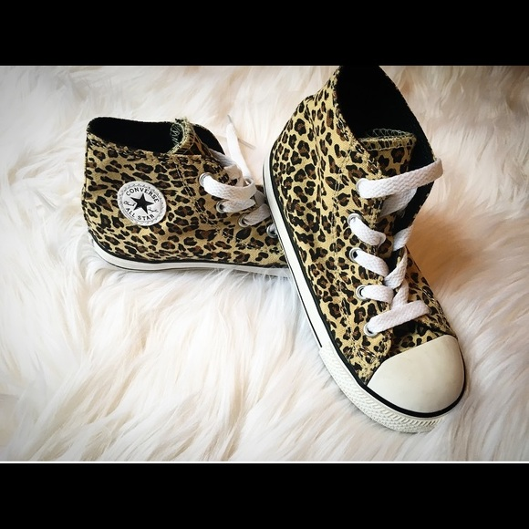 Converse Other - Converse high tops! Leopard print! Kids size 10. 294fa6f1b