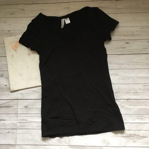 e9d4f7ea2166 H&M Tops | Divided Hm Womens Xs Black Tshirt Vneck Basic S | Poshmark