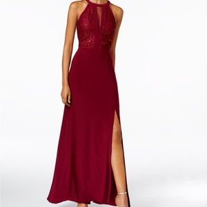 Long Halter Lace Dress with cutout