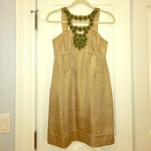 Stunning Shoshanna gold and green beaded dress