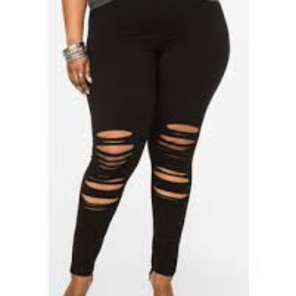 0341c52912d Ashley Stewart ripped leggings Sz 12