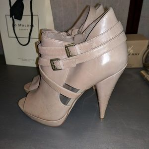 Aldo peep-toe ankle booties in nude size 39
