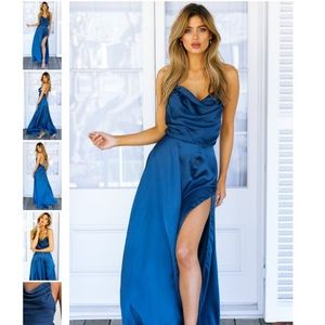 NWT Mura Boutique Royal Blue Satin Maxi Dress/Gown