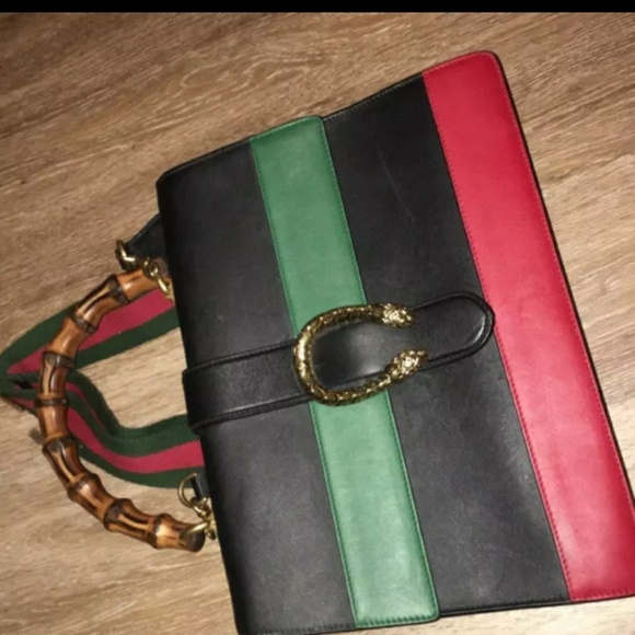 05d98c357bba Gucci Handbags - gucci dionysus striped bamboo top-handle bag