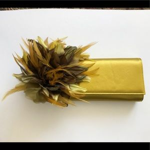 Gucci Yellow Satin Angelica Feather Clutch NWT