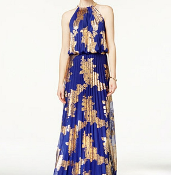 Xscape Dresses | Blue Gold Metallic Pleated Halter Maxi Gown | Poshmark