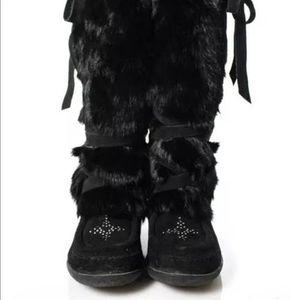 Original MUKS rabbit fur wedge boots