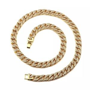 """14K Gold Plated 20"""" Iced Out Cuban Link Chain"""