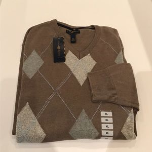 NWT$72 CLUB ROOM Argyle V-NECK Cotton Sweater XL
