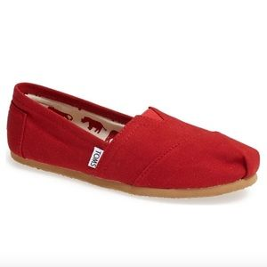 TOMS Classic Red Canvas Slip-On