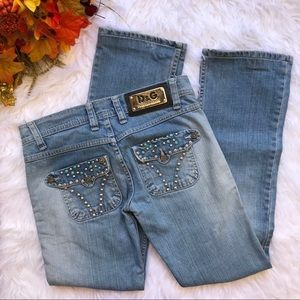 Dolce & Gabbana turquoise studded distressed jeans