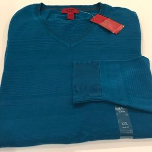 NWT$72 ALFANI Teal Blue V NECK Cotton Sweater XXL