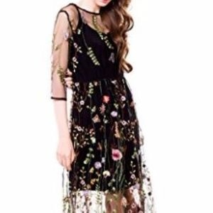 NWOT Floral Embroidered Mesh Maxi Dress