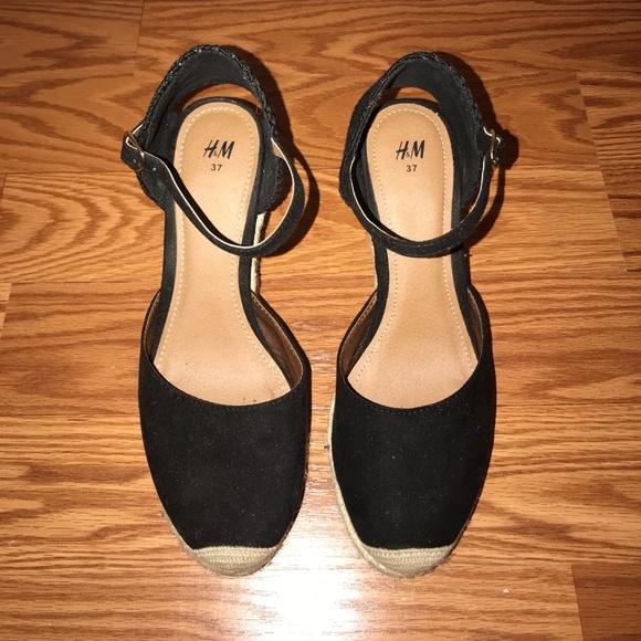 0578c5a817 H&M Shoes | Hm Black Espadrille Wedge Sandals 6 | Poshmark