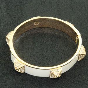Bangle Bracelet Gold White Hinged