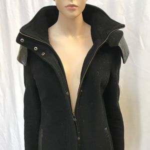 Mackage wool leather trim hooded mid length coat