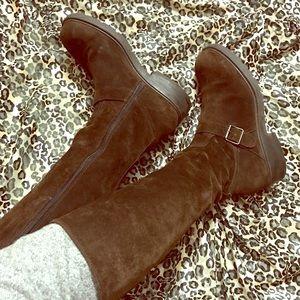 J. Crew Italian Suede Knee High Buckle Boot Size 8