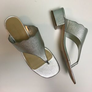 Marc Fisher Silver Metallic Veva Sandals - 10M