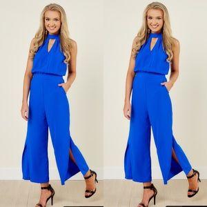 Blue Halter Top Jumpsuit
