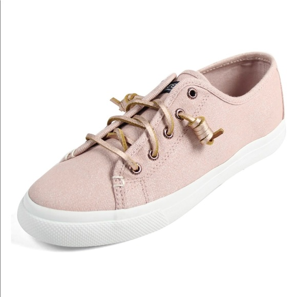 Sperry sea coast rose gold sparkle canvas sneakers