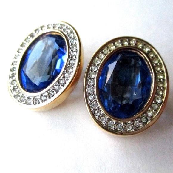 235dce86b0aa Swarovski Vintage Blue Crystal Earrings Pierced. M 59f693e0bf6df55fab08e7a3