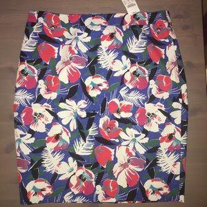 NWT! J. Crew Flowered Pencil Skirt, Size 10