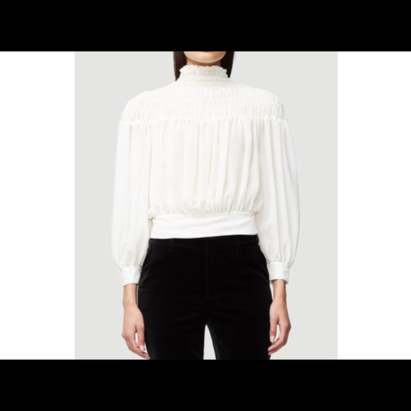 66a013fadc54d FRAME Denim - Smocked Tie Back Blouse (Offwhite)
