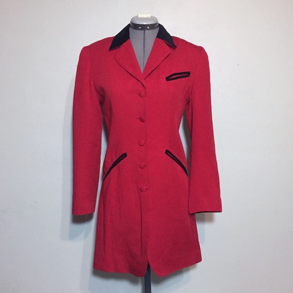Express Jackets & Blazers - Vintage Express Long Red Blazer with Velvet Collar