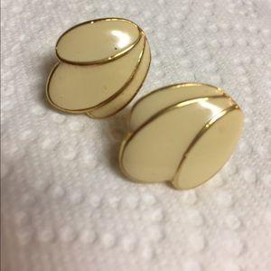 Napier Cream Enamel Screw Earrings