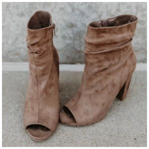 *RESTOCKED* New taupe peep-toe booties Faux Suede