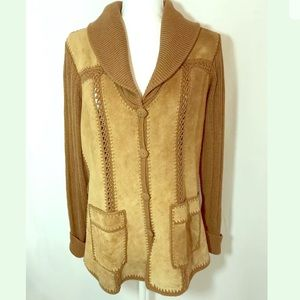 Jackets & Blazers - Vintage 70s Suede leather jacket Boho Hippie Med